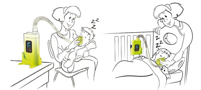 Použití inhalátoru u spícího dítěte