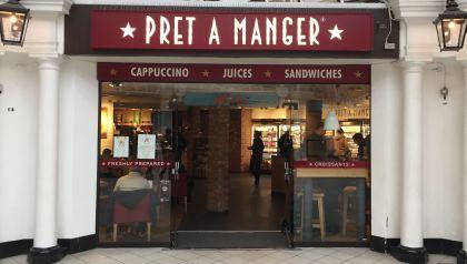 Jedna z londýnských kaváren Pret A Manger, kde se dá pořídit bezlepkový sendvič