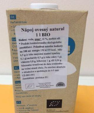 Složení nápoje Bio Oatly natural