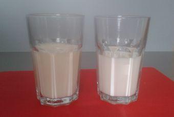 Vlevo sójový nápoj natural Bio Provamel, vpravo polotučné mléko