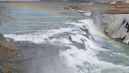 Duha nad vodopádem Gullfoss