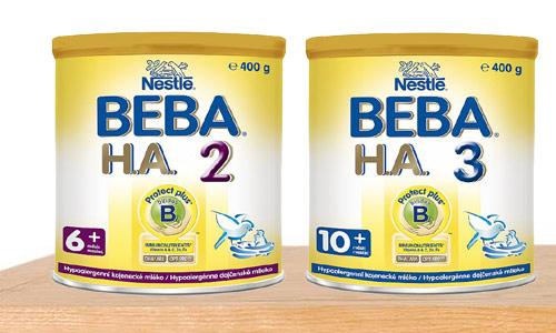 Hypoantigenní mléka jsou označena zkratkou HA nebo H. A. a stejně jako jiná kojenecká mléka bývají odstupňována podle věku dítěte (zdroj: Nestlé)