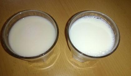 Špaldový nápoj (vlevo) a polotučné mléko (vpravo)