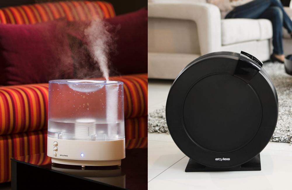 Švýcarská značka Stylies nabízí zvlhčovače vzduchu pro různé účely ‒ od jednoduchých ultrazvukových (model Hydra vlevo) až po diskové pro náročnější zákazníky (model Aquarius vpravo)